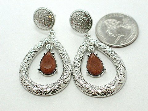 Designer Inspired Red Stone Earrings - BBrs