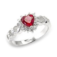 Red Ruby Heart CZ Ring - BBrr