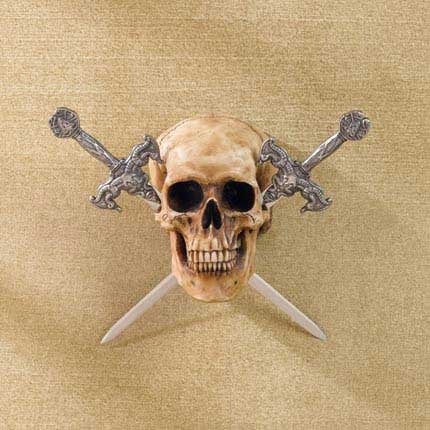 Skull with Two Metal Swords - MM37079