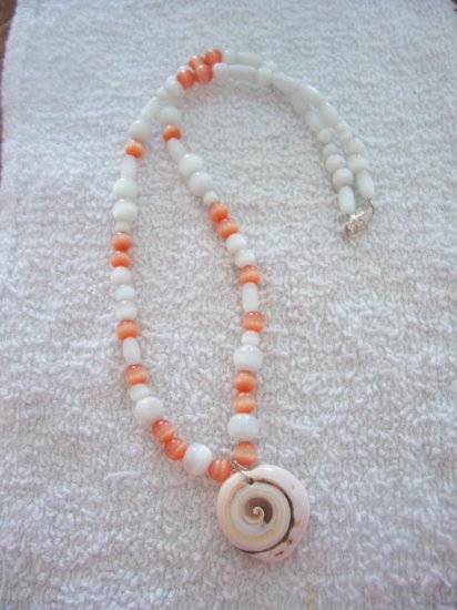 Orange & White Cat's Eye & Shell Necklace - TTow