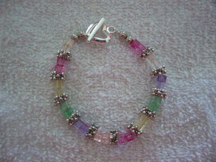 Rainbow Crackle Glass & Silver Bracelet - TTcg