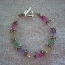 Rainbow Crackle Glass & Silver Bracelet - TTcg
