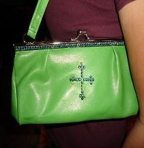 SALE! Bright Green Purse With Crystal Cross - CGgp