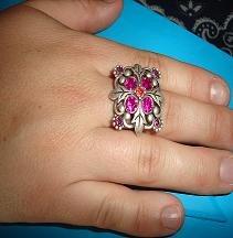 SALE! Silver Tone Pink Crystal Ring - CGsr
