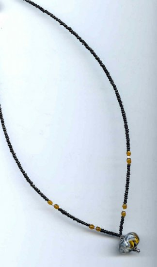 Amber/White Lampwork Bead Necklace - EAawn