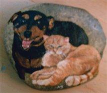 Pet Portrait River Rock (Large - 2 Pets) - PRrrl