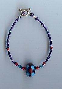 Cobalt Blue & Red Glass Bead Bracelet- EAbr