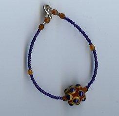Cobalt Blue & Amber Glass Bead Bracelet- EAba