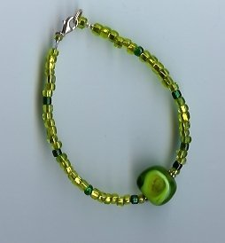 Green & Gold Glass Beaded Bracelet-EAgr