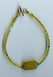 Gold & Amber Glass Bead Bracelet -  EAga