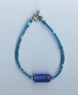 Blue & White Glow Bead Bracelet - EAbw