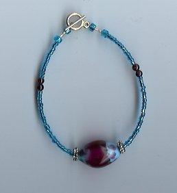 Light Blue & Red Glass Bead Bracelet- EAlb