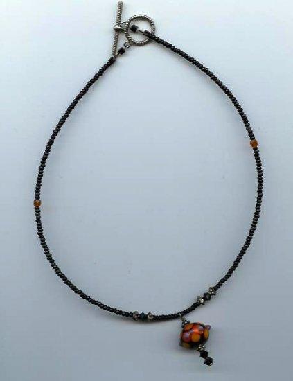 Black/Orange Purple Necklace - EAbop