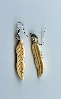 Bone Feather Earrings - EAbfe