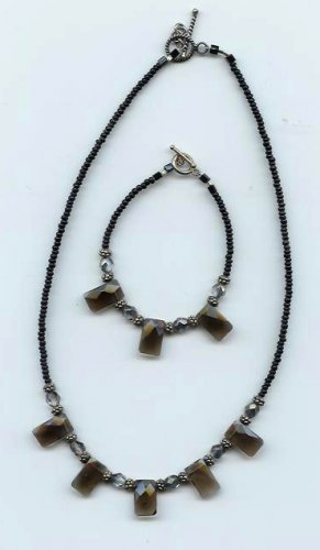 Smokey Quartz Necklace/Bracelet Set - EAsqs