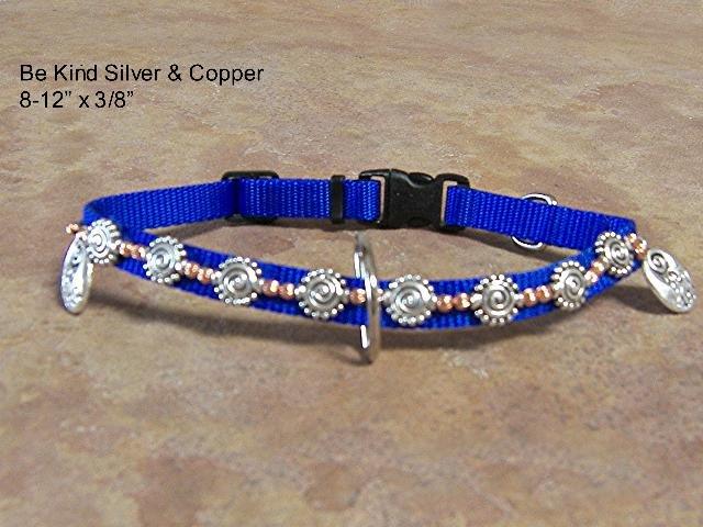 """Be Kind"" Silver Charms Dog Collar - BTbk"