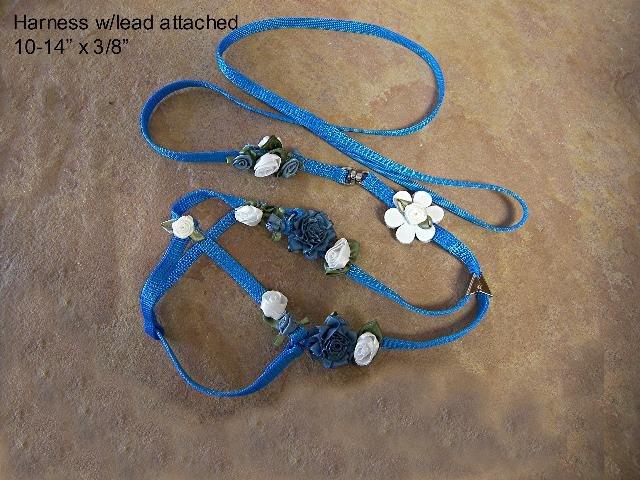 Blue & White Satin Dog Lead & Collar - BTbws