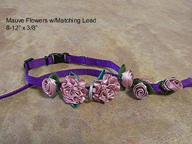 Mauve Satin Roses Collar w/ Matching Lead - BTmcl