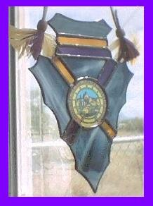 Stained Glass Arrowhead with Tribal Seal - SGts