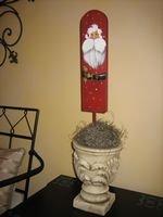 Small Wooden Santa Topiary - PJst