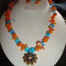 Orange Coral & Blue Beads w/ Spur Rowel Necklace Set - CGoc