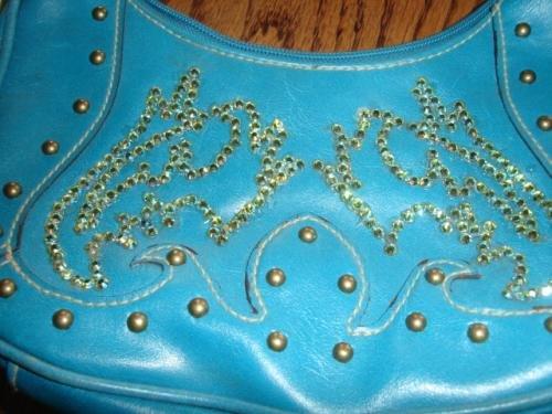 SALE! Turquoise Purse With Swarovski Crystals - CGtu