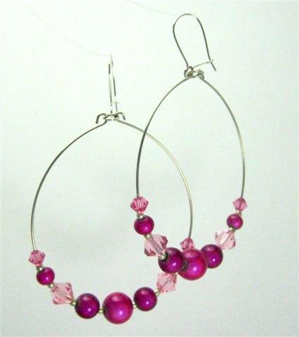 Pink Bubbles Hoop Earrings - UEpb
