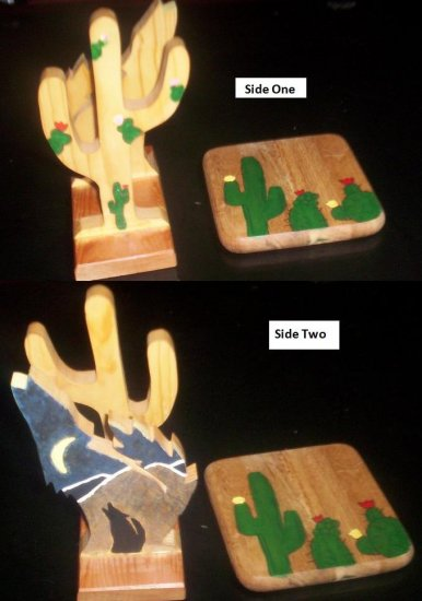Coyote and Cactus Wood Set of 2 - DDcc
