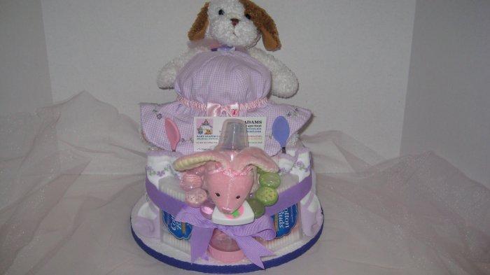 1 Tier Baby Girl Diaper Cake - TH1tg12