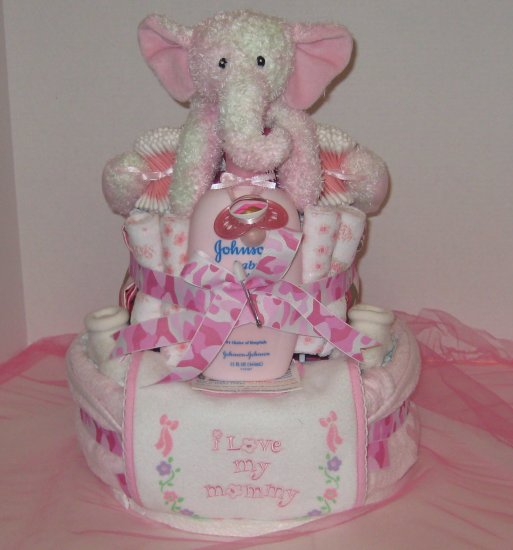 2 Tier Baby Girl Camoflauge w Elephant Diaper Cake - TH2tge