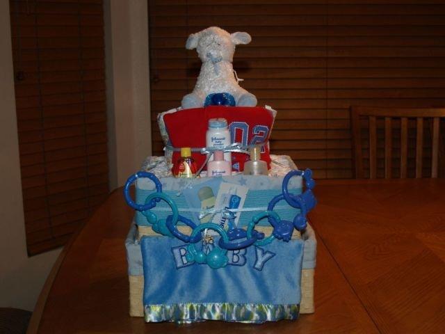 2 Tier Baby Boy Basket Diaper Cake - TH2tbb
