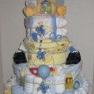 4 Tier Baby Boy Basket Diaper Cake - TH4tbb