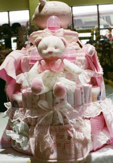 4 Tier Baby Girl Basket Diaper Cake - TH4tbg