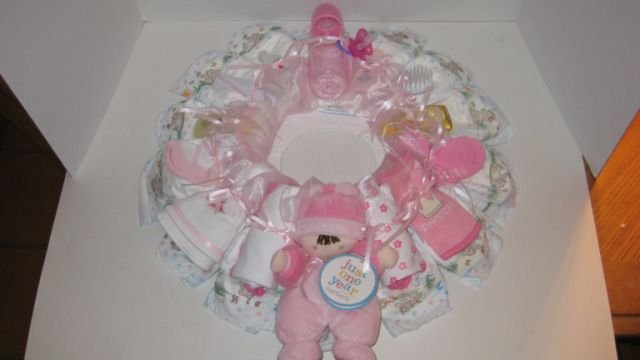 Medium Pink Diaper Wreath  - THmpw