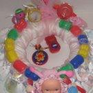 Small 1 Year Old Girl Diaper Wreath  - THsbw