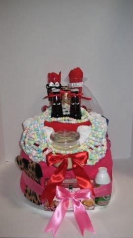 Hot Pink Bridal Towel Cake  - THpb