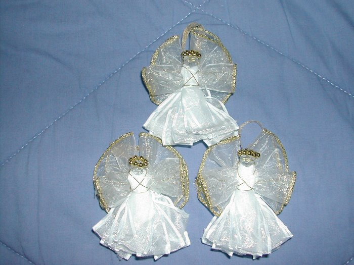 White & Gold Ribbon Angels (set of 3) - RAwg