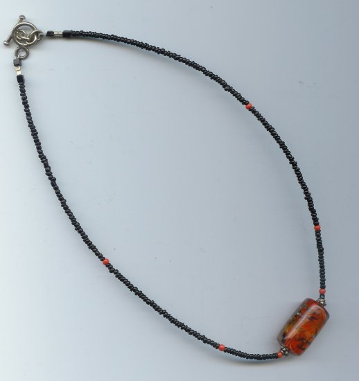 Orange Lampworked Bead Necklace - EAoln