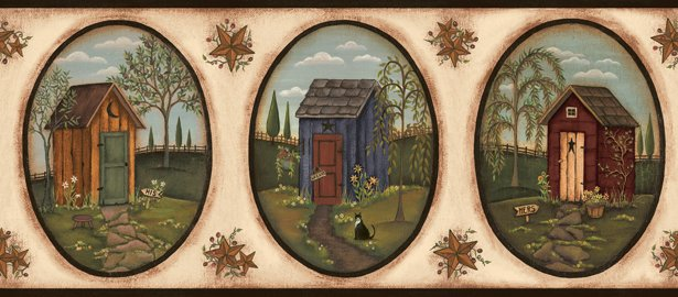 Outhouse in Oval Wall Border - CWG90773