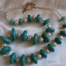 Turquoise and Pearl Necklace  - DZtp