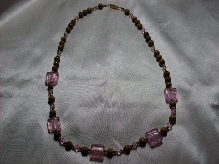 Pink and Brown Bead  Necklace  - DZpb