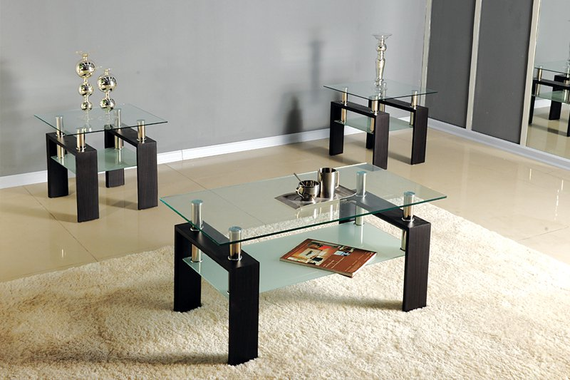 3pc Black Chrome Glass Top Occasional Coffee Table Set W