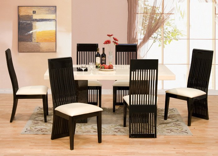7 Pcs Modern Italian Marble W Black Lacquer Chairs Dining