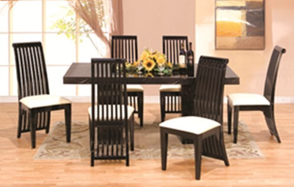 7 Pcs Modern Italian Marble w Black Lacquer Dining Room ...