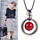 Circle Red Pearl Pendant Statement Long Chain Sweater Necklace Jewelry