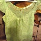 Twelfth Street by Cynthia Vincent Pale Green Silk Blouse With Rhinestone Neck Detail Size M