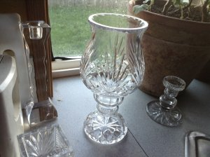 Gorham Hand Cut German Crystal 2 Piece Lady Anne Hurricane Candle Holder