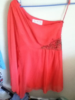 Sale! New Free People One Shouldered Coral Mini Dress With Beading Size 2. Retail $228