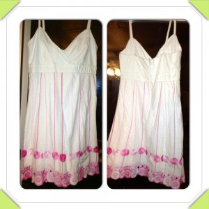 Charming Lily Pulitzer White Cotton Party Dress With Delicate Pink Embroidery Size 10