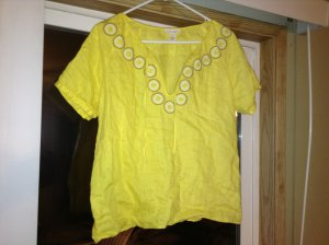 J.Crew Indian Inspired Linen Tunic With Embroidered & Sequin Detail at Neck Size 4